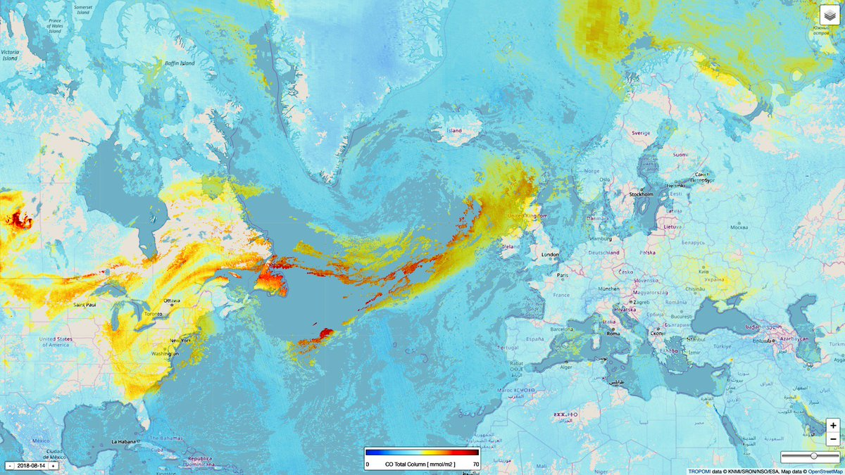 Smoke from #fires in North America have reached the UK and Ireland on Tuesday. This image shows increased concentrations of carbon monoxide from #Tropomi. Also the aerosol index, a good indicator of smoke layers, shows increased values in this region. #Copernicus <br>http://pic.twitter.com/atMTTxRib9