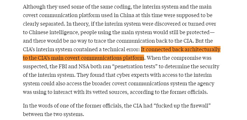 Incredibly bleak and impressively researched story here. 30 CIA assets caught by the Chinese authorities, every single one executed, because of a compromised communications system used to talk to potential sources they weren't sure they could trust.  https://t.co/1GXW0ACFrG
