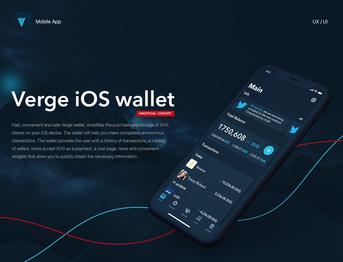 Hi!My name is Vadim I am the designer from Russia I am not a participant of team of Verge developers!But I love Verge and UI/UX design! I developed a concept of design for iOS wallet,a request to estimate work if she is pleasant  https:// goo-gl.ru/AyW  &nbsp;     #XVG #vergeArmy #vergeFam <br>http://pic.twitter.com/7d3bIJ3OaH
