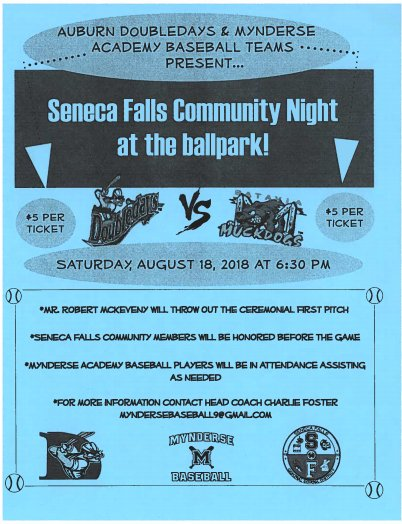 The Auburn Doubledays &amp; Mynderse Baseball teams present Seneca Falls Community Night at the Doubledays ballpark this Sat., August 18th at 6:30 PM, Tickets are only $5 each. Come out for a great night with the family! #SFCSDPROUD #BLUEDEVILNATION @FingerLakes1 @SenecaDailyNews<br>http://pic.twitter.com/L72wv1dTU2