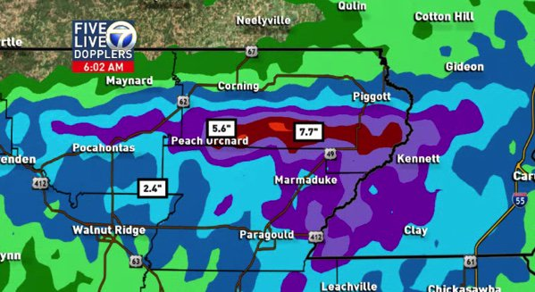 Incredible!  7''+ according to radar far NE Arkansas overnight.  Flash flood warning in effect #ARWX<br>http://pic.twitter.com/rHk44n6PAR