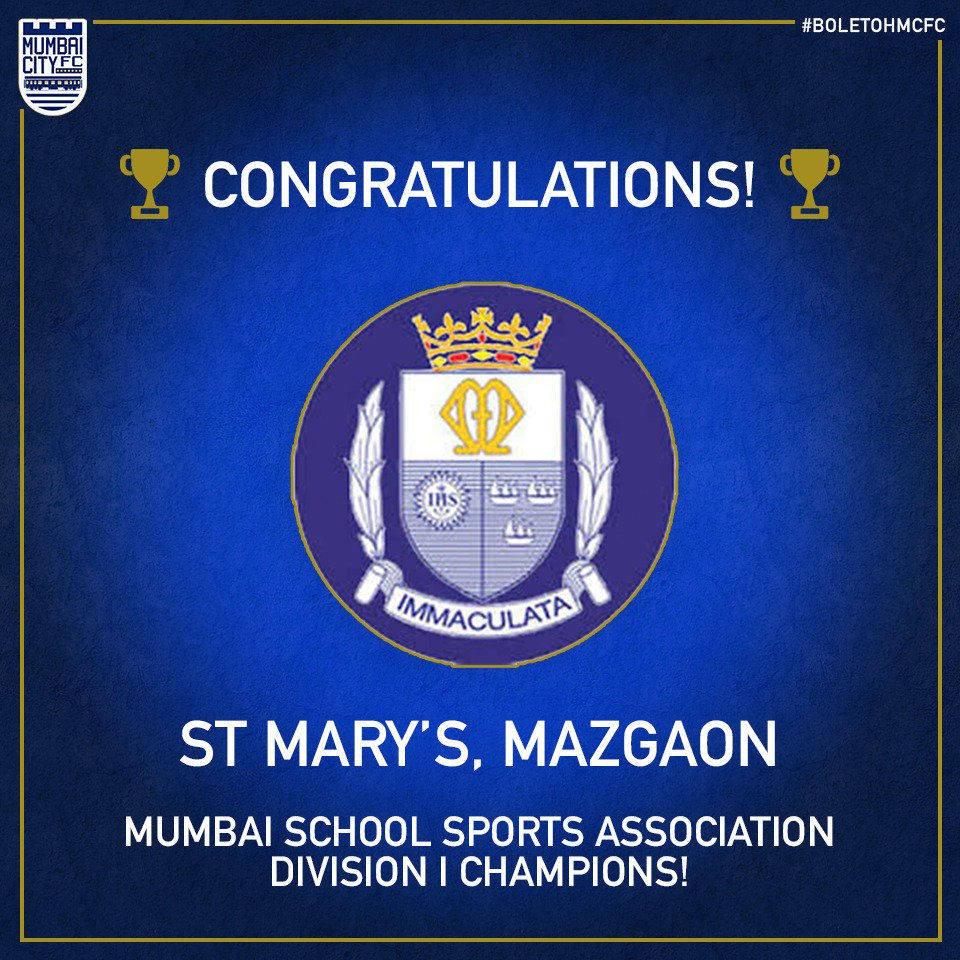 The city has a new champion! 🏆 Congratulations to the MSSA Division I winners, St. Marys High School from Mazgaon for their first title in 21 years, running out 1-0 winners over Dominic Savio High School from Andheri. Well done! 👏🏻 #BoleTohMCFC