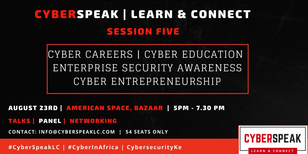 7 DAYS TO GO: And speakers list is dropping today -- guess who is speaking? Stay awoke.    #CyberInAfrica #CybersecurityKe  #CyberSpeakLC<br>http://pic.twitter.com/s6jV0txEyb