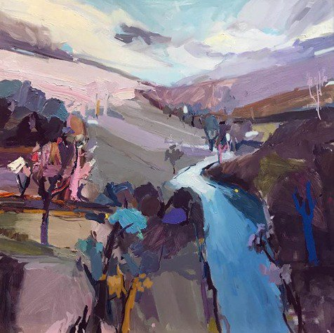 """Light filters over the #Australian bush, ringing silver, ochre and blue. """"Daybreak at Ironbark Creek"""", 122X122cm, oil on linen. #paint #gallery #abstractexpressionist #art  #onlineart<br>http://pic.twitter.com/MPrZtavv5W"""