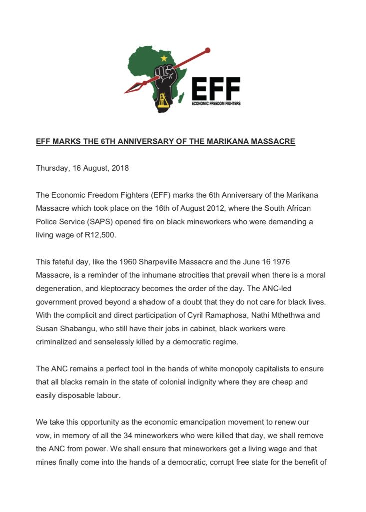 EFF MARKS THE 6TH ANNIVERSARY OF THE MARIKANA MASSACRE <br>http://pic.twitter.com/mdWgxULNtb