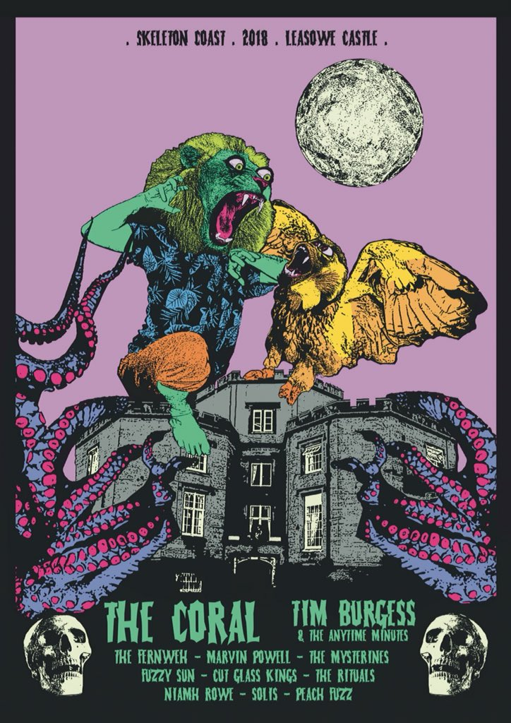 How good are the posters &amp; line ups for @skeleton_coast Festival we've got @thecoralband @Tim_Burgess this year  most festivals artwork is boring!  Underground festivals rule  Big  to @IanSkelly1 who did the last two years design &amp; @domfoz for doing our first poster<br>http://pic.twitter.com/ZasEvNzFv3