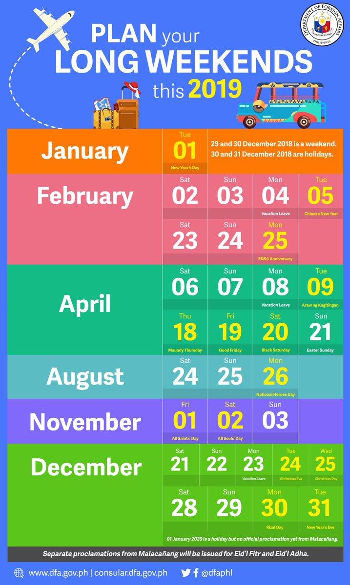 Calendar 2019 Long Weekend