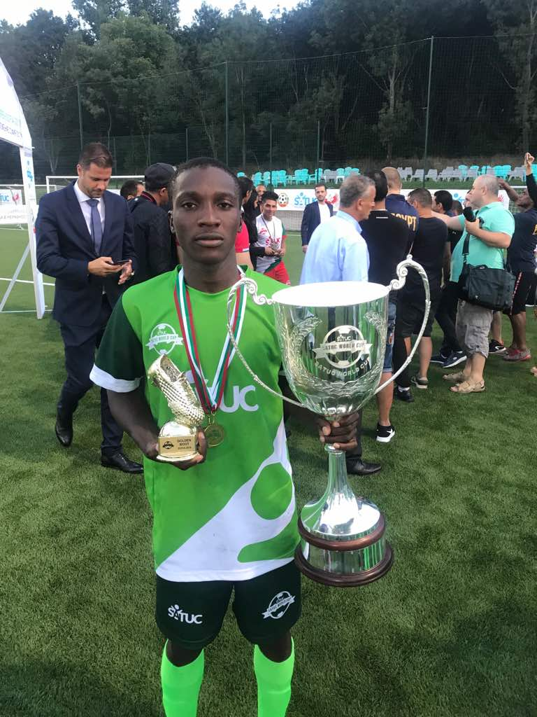 Young underprivileged Nigerlites have done the Nation proud. They've lifted the SATUC WORLD CUP FOR UNDERPRIVILEGED CHILDREN trophy played in Sofia, Bulgaria.   One of the boys, Abdullkadir Mohammed have just been signed by John Utaka football club. <br>http://pic.twitter.com/aDlGiJr0EB