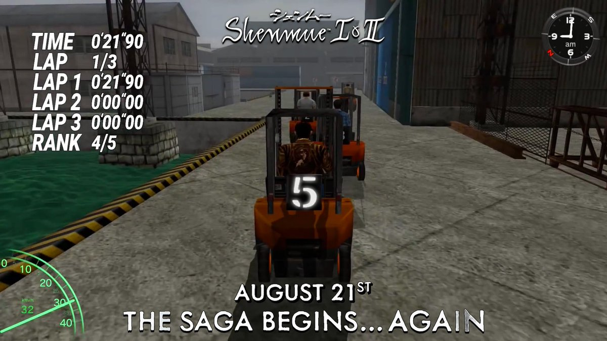 """""""Everybody ready? On your mark... almost time to go!""""  #Shenmue I &amp; II arrive on August 21st on PS4, Xbox One &amp; PC!   http:// Shenmue.Sega.com  &nbsp;    In 5 days... the saga begins... again!<br>http://pic.twitter.com/Mi8YH38hkA"""