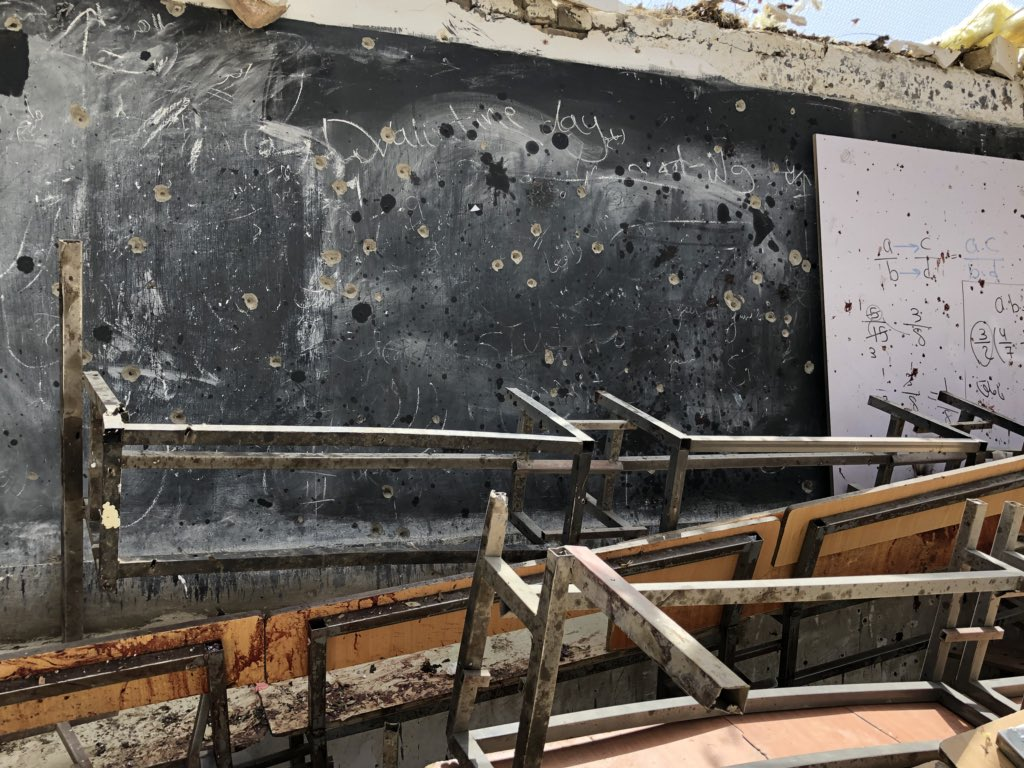 """""""Gather your strength so you don't cry,"""" the police officer advised as we entered the #Kabul education center targeted by suicide bomber. """"We cried a lot."""" On the white board: math equations. On the blackboard: a faded valentine. ځان تينګ كړه چي وه نه ژاړى. مونږ خو دير وژړل"""