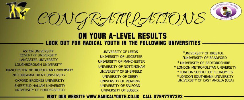 If you're not coming to Huddersfield, we've got the other RYs across the UK! Check them out - @RY_Leicester @RYTrentside @RYlufbra @RYNotts @RYAstonUni @RYsheff @RY_Manchester @RY_Sussex @RY_Coventry @RY_Coventry @RadicalYouthHQ @ry_leeds @RY_DMU #ALevelResultsDay<br>http://pic.twitter.com/PD9KmvMv27