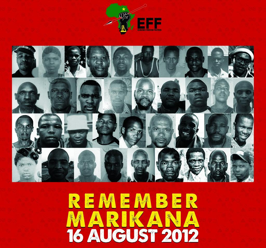 The EFF marks the 6th Anniversary of the Marikana Massacre which took place on the 16th of August 2012, where the South African Police Service (SAPS) opened fire on black mineworkers who were demanding a living wage of R12,500. #MarikanaMassacre<br>http://pic.twitter.com/Q0exgLEijU