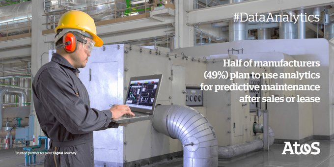 50% of manufacturers plan to use #analytics for #PredictiveMaintenance after sales or...