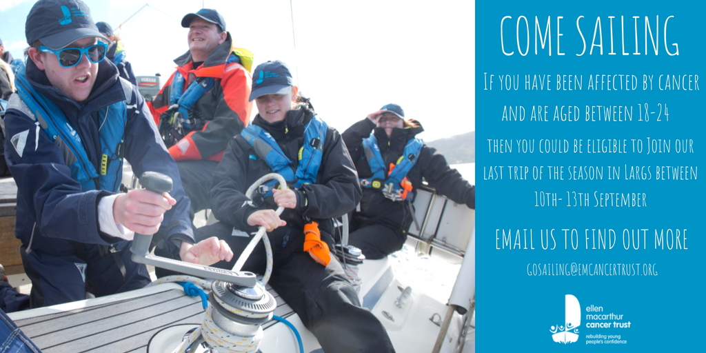 We're excited to announce that we have spaces available on our last trip of the season in Largs this year. This is an amazing opportunity for anyone aged between 18-24 who has been affected by cancer to try something different, make new friends and rebuild #ConfidenceafterCancer