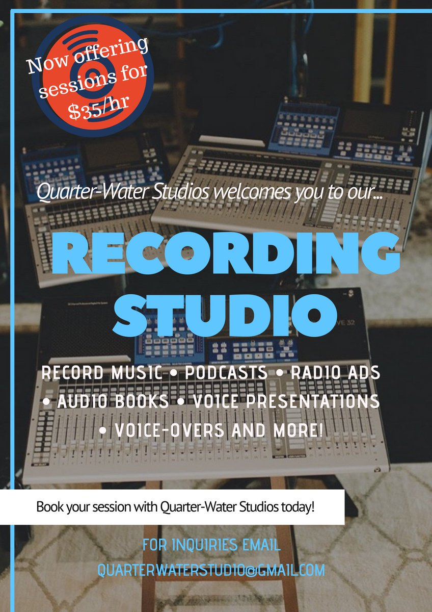 Quarter-Water Studios now has a set location in Toronto, for you to come &amp; record your vocals. Music, podcasts...you name it! We record, mix &amp; master at a very low price at $35/Hour! Email or DM for inquiries. <br>http://pic.twitter.com/B9PU8Nn7Q1