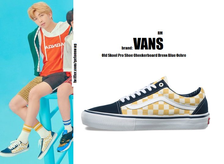 f73399272a9b1a 180817  LOVE YOURSELF 結  Answer  Concept Photo F version    BTS  방탄소년단  RM  NAMJOON  Vans Old Skool Pro Shoe Checkerboard Dress Blue Ochre