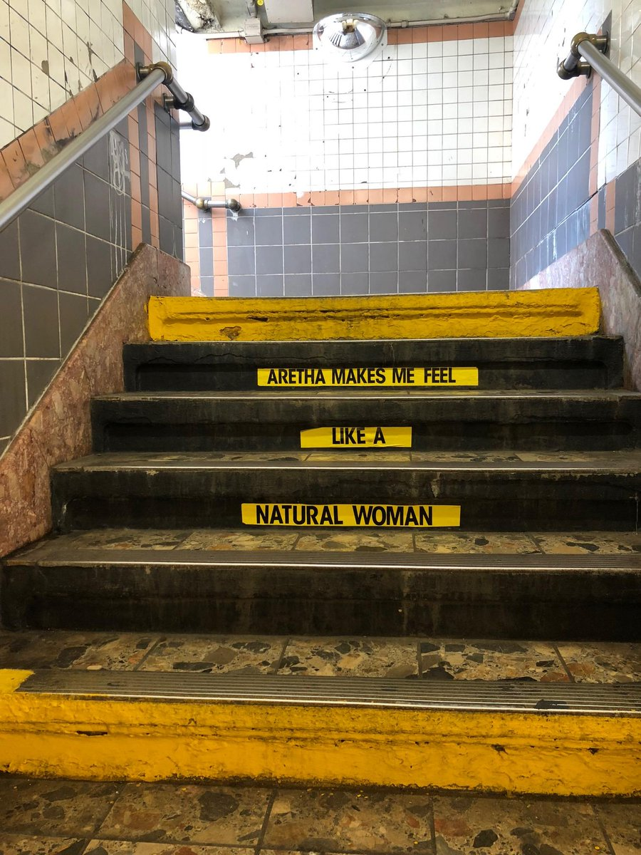 New York City's Franklin Street Subway stop pays homage to the late Aretha Franklin.