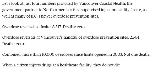 &quot;When a citizen injects drugs at a healthcare facility, they do not die.&quot;  It&#39;s hard to argue with a 100% success rate.  Good article from @tlupick on why supervised injection facilities are needed all over Canada:  https://www. theglobeandmail.com/opinion/articl e-without-safe-injection-sites-drug-users-will-die/ &nbsp; … <br>http://pic.twitter.com/4wJoeNvDbM
