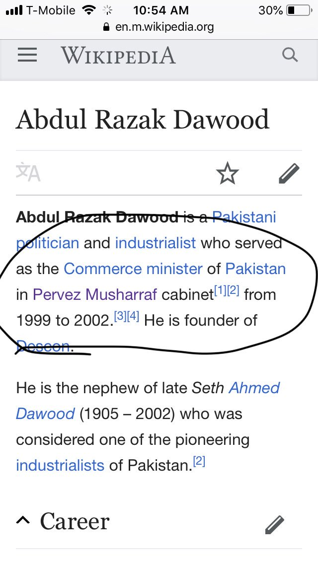 Abdul Razzaq Daood resigned from Descon limited to be Commerce and Industry adviser to PM but he still has 92 percent of Descon shares that means he can be head of Descon back whenever he wants, he did that when he became minister of Musharraf 1999 to 2002 :1 <br>http://pic.twitter.com/9D7ed6dCWd