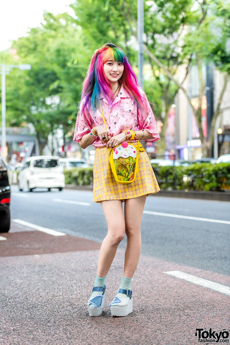 Sakura Luna (@sakura_pluto) wearing a colorful kawaii style that she calls 'NeoFairy' on the street in Harajuku with fashion by Esther Kim & WC, Neon Moon, 6%DOKIDOKI, Swimmer, Faith Tokyo, ICE Watch & Merry Jenny  #原宿https://t.co/iWeXfqWDLU