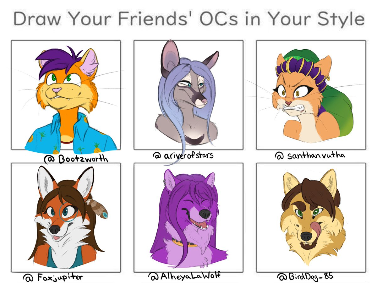 Only had time to do 6 since I was sick af, BUT! .@Bootzworth .@ariverofstars .@SanthanVutha .@Foxjupiter .@AlheyaLaWolf .@BirdDog_85<br>http://pic.twitter.com/3RCp9uFSOG