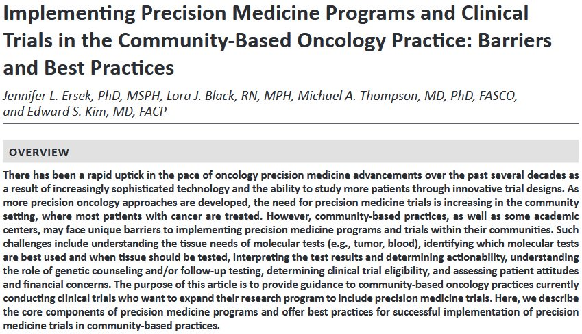 .@ASCO Book Chapter in &#39;Delivering Discoveries: Expanding the Reach of Precision Medicine&#39;- @JLErsek, @lorablk, @mtmdphd and Edward S. Kim, MD of @Carolinas; ideas and insight into #impsci strategies for onc #PrecisionMedicine programs + clinical trials.  https:// am.asco.org/sites/am.asco. org/files/2018-AM-Educational-Book.pdf &nbsp; … <br>http://pic.twitter.com/RSPW6nCrQA