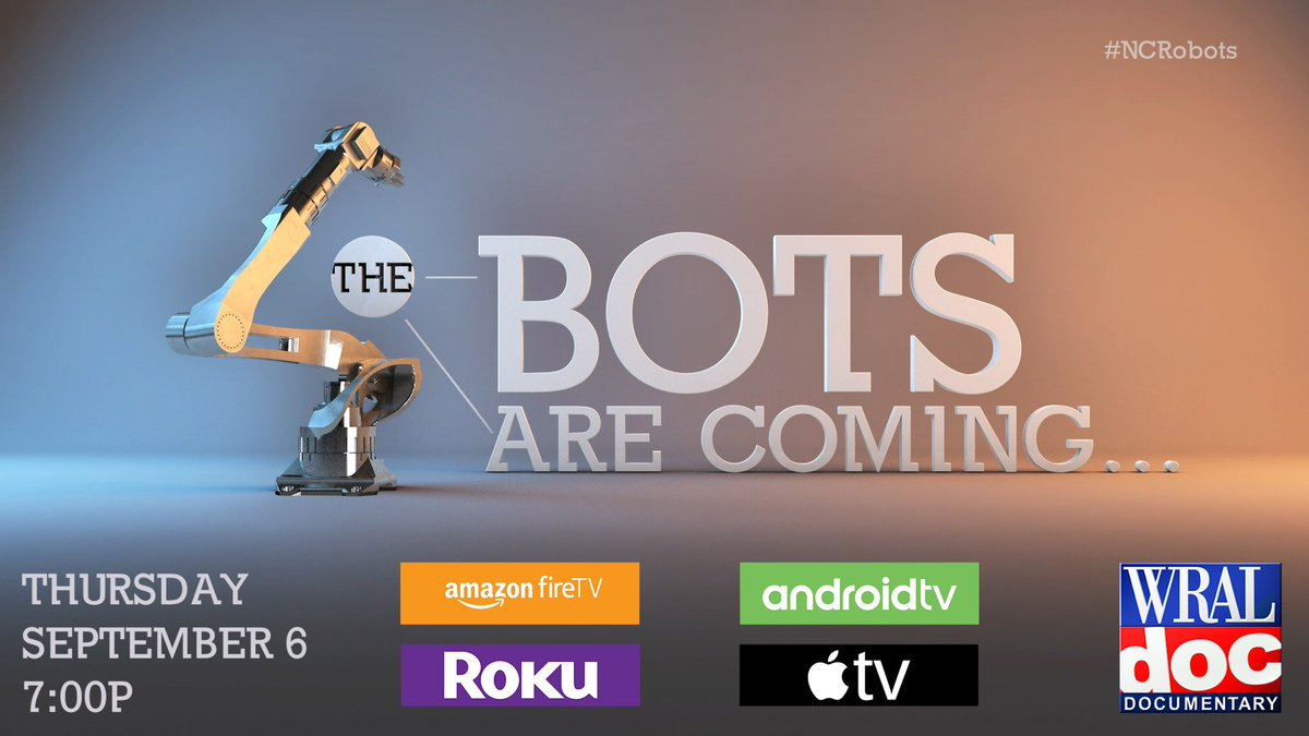 Mertek Solutions will be shown in a WRAL Documentary Connecting the Bots. Premiers Thursday, September 6 at 7pm on WRAL-TV. #NCRobots   https://www. facebook.com/MertekSolution s/posts/2074708282548424 &nbsp; …  <br>http://pic.twitter.com/SVTsDameh9