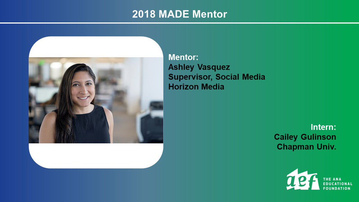 Thanks to 2018 MADE Mentors who are taking time to guide our MADE Interns through the start of their career. @HorizonMedia @ChapmanU  https:// aef.com/2018-made-ment ors/ &nbsp; … <br>http://pic.twitter.com/T9OTW5iw2u