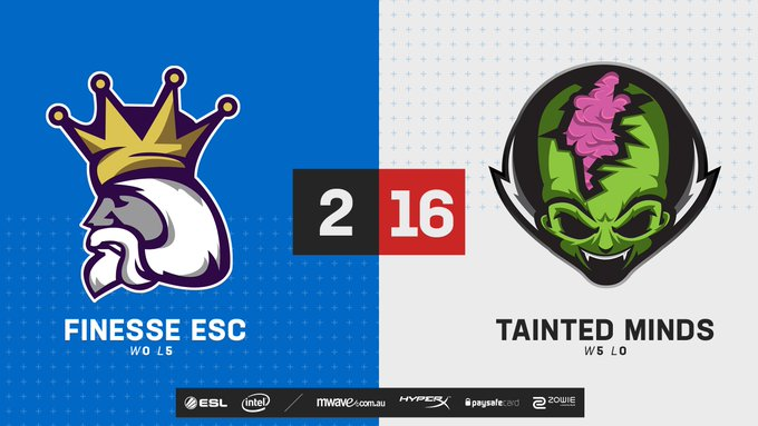 A very dominant map by @TaintedOrg as they take Inferno 16-2 against @FinesseESC! 👊 Nuke is up next! 👀 #ESLAUNZ 📺 Photo