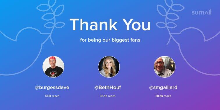 Our biggest fans this week: @burgessdave, @BethHouf, @smgaillard. Thank you! via sumall.com/thankyou?utm_s…
