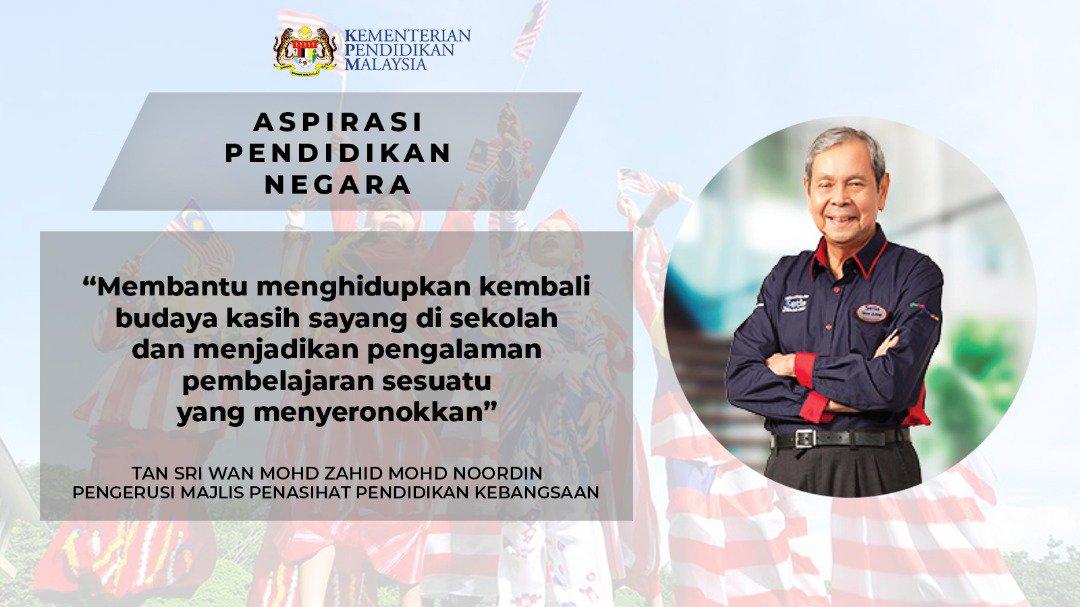 Maszlee Malik در توییتر Mengumumkan Tan Sri Wan Mohd Zahid Bin Mohd Noordin Sebagai Pengerusi Majlis Penasihat Pendidikan Kebangsaan