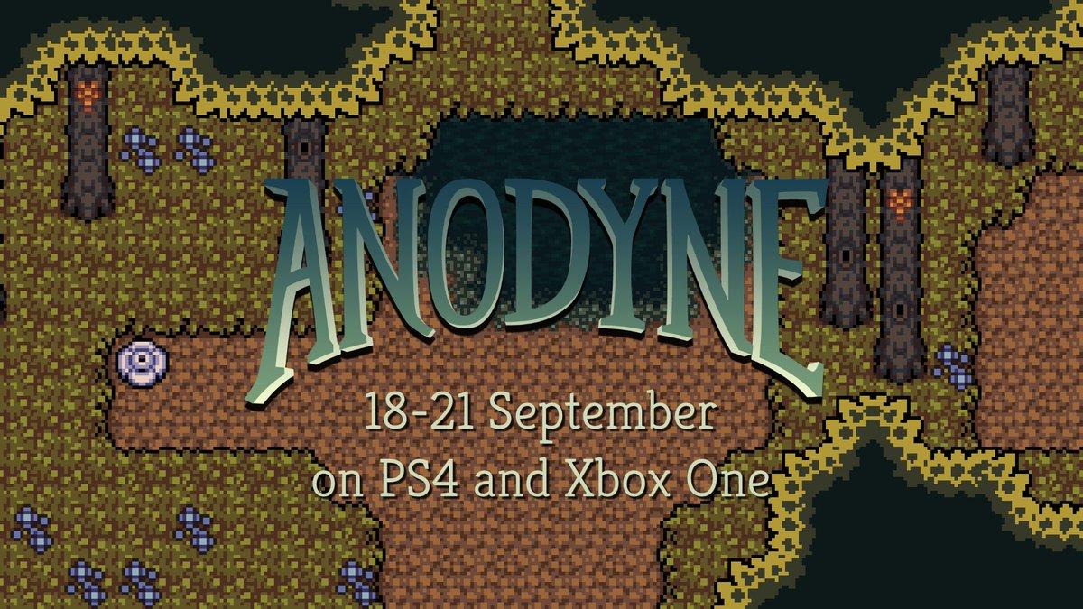 Anodyne release dates for PS4 &amp; Xbox One:  PS4 US: 18 Sept PS4 EU: 19 Sept Xbox One: 21 Sept  US$9.99 / €9.99  Press release:  https:// bit.ly/2P9BafQ  &nbsp;  <br>http://pic.twitter.com/yyNgZ8N8LI