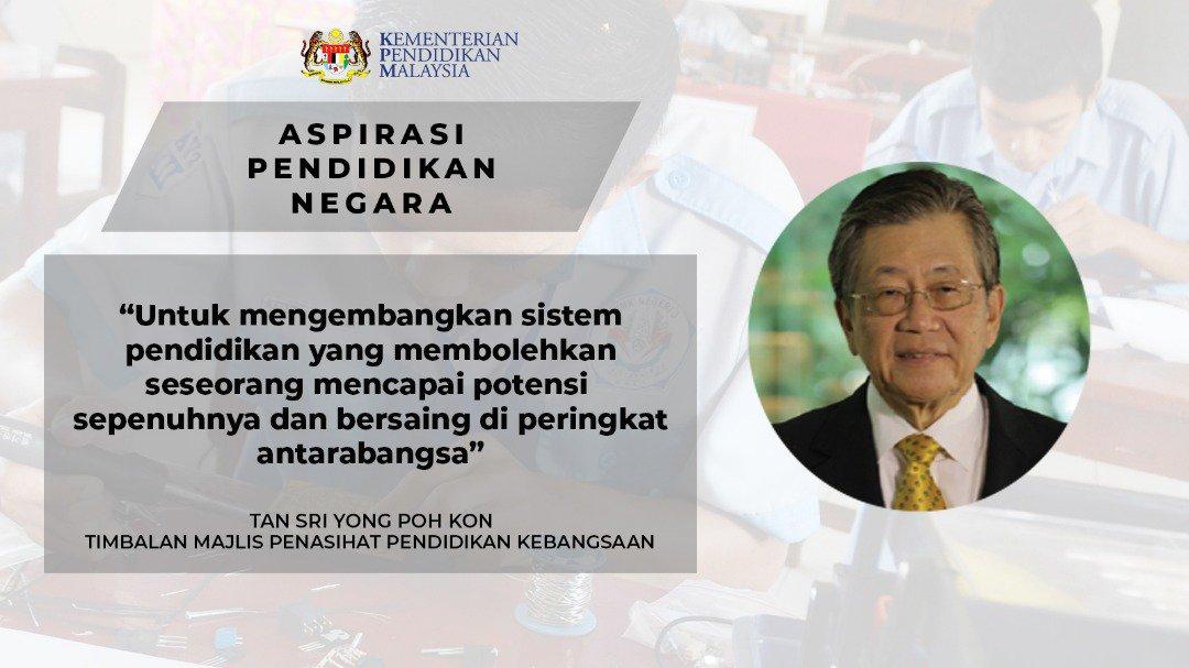 Maszlee Malik No Twitter Tan Sri Yong Poh Kon Sebagai Timbalan Pengerusi Majlis Penasihat Pendidikan Kebangsaan