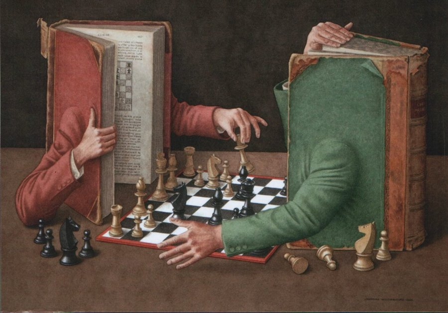 The Chess Players by British artist and illustrator Jonathan Wolstenholme, 1950.   #chess #art #PictureOfTheDay<br>http://pic.twitter.com/IR3qX8k1Q4
