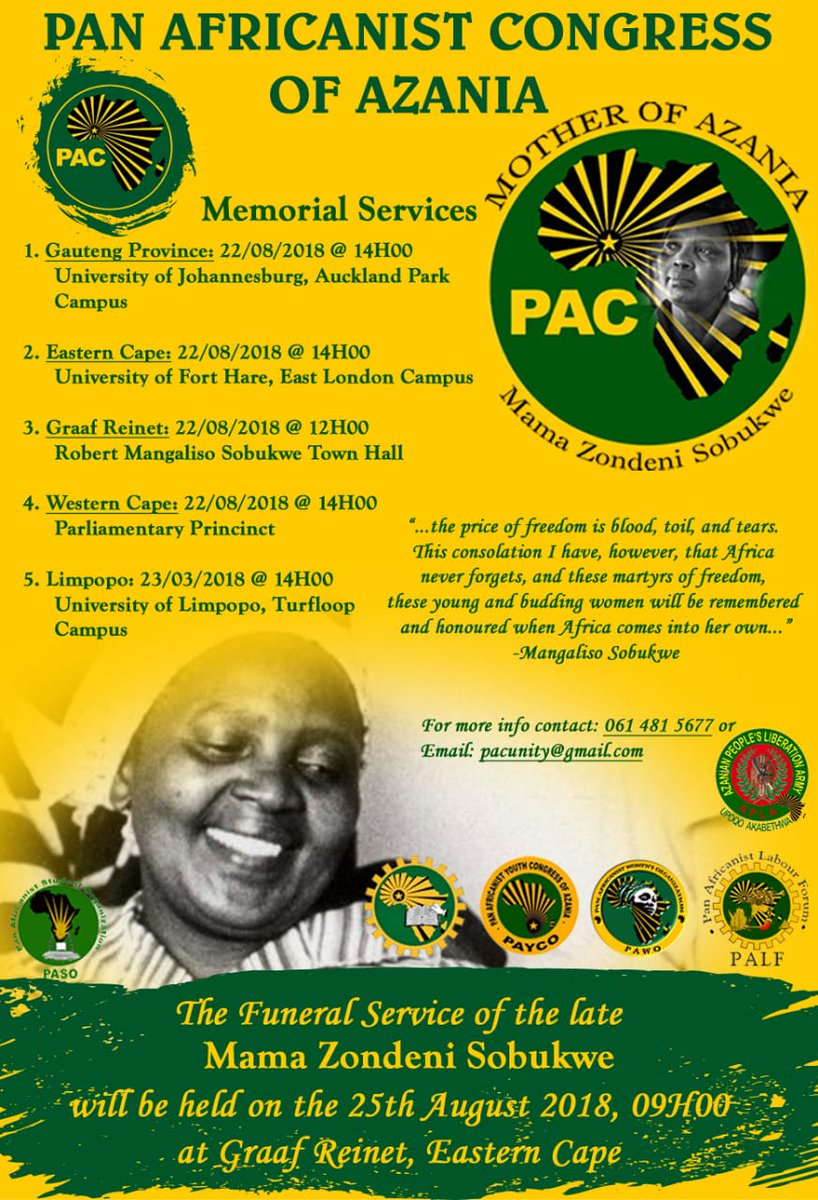 We will be hosting various memorial services across the country to celebrate the revolutionary life that was of Umama Zondeni. Attached on the tweet is the poster with final details #RIPMamaSobukwe<br>http://pic.twitter.com/xOenPddAlb