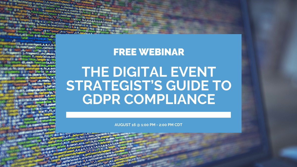 Today! Free webinar:  http:// bit.ly/2vV2Uw7  &nbsp;   - The General Data Protection Regulation (#GDPR) is a piece of EU legislation you don&#39;t want to mess around with. Make sure you are following the guidelines and learn how to develop a Data Protection Strategy during our webinar. #pcma <br>http://pic.twitter.com/51qPQ3FveH