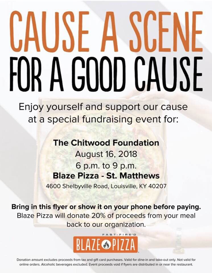 Beat the rain and join us tonight at @BlazePizza St. Matthews from 6-9 PM. 20% of your purchase will go to The Chitwood Foundation. See you tonight! <br>http://pic.twitter.com/QQMiZb4u4z