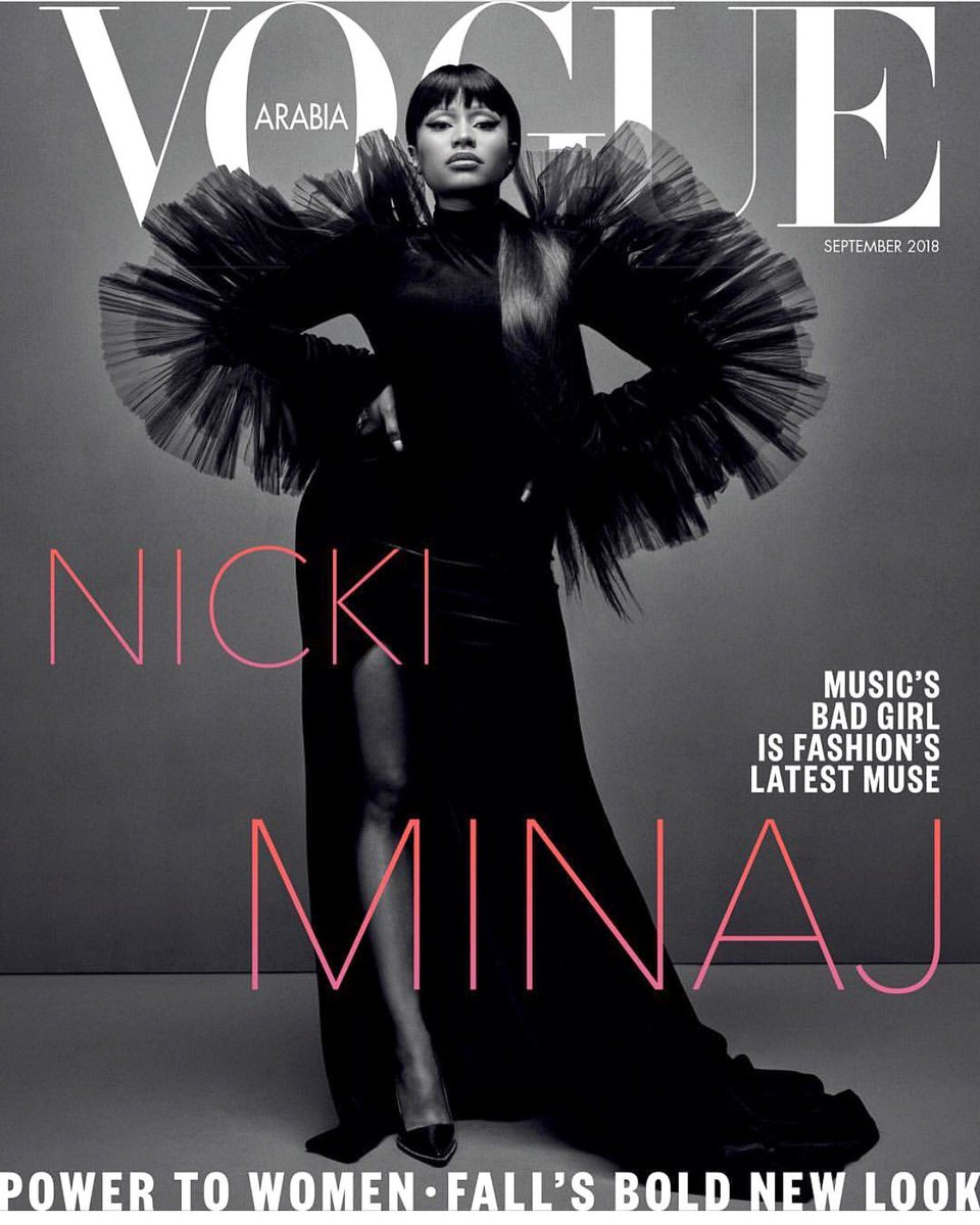 Now this is amazing! COVER ALERT with the QUEEN @NICKIMINAJ in Siriano for @VogueArabia! Styled by @AnnaKatsanis 🖤🖤🖤🖤 So proud of team Siriano for this moment.