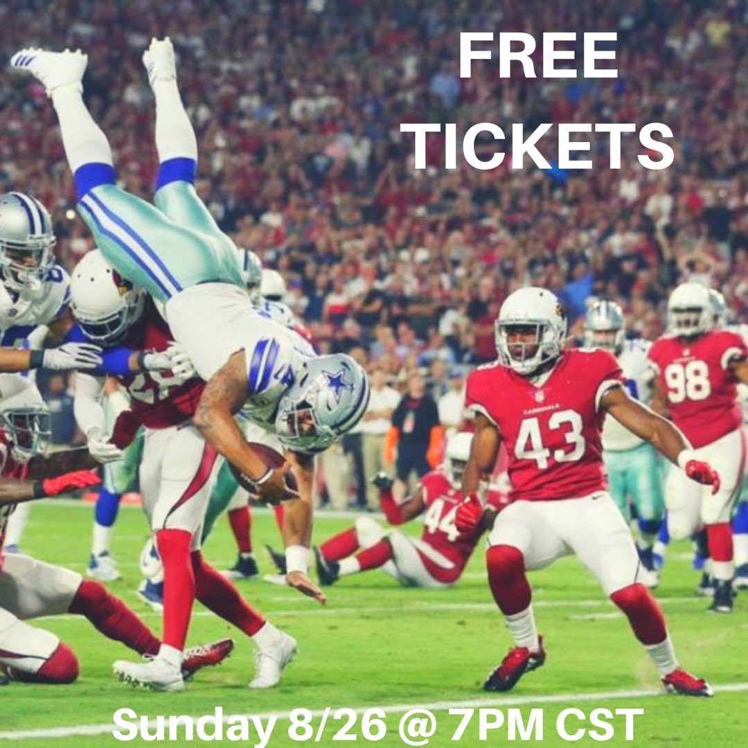 ✭✭ TICKET GIVEAWAY ✭✭   TWO tickets together in section 217. INCLUDES parking in LOT 14.    How to enter:   Follow @p1crowrap  Retweet this tweet  Arizona Cardinals @ Dallas Cowboys  8/26 7:00PM CST at ATT Stadium <br>http://pic.twitter.com/mEFipHhFlS