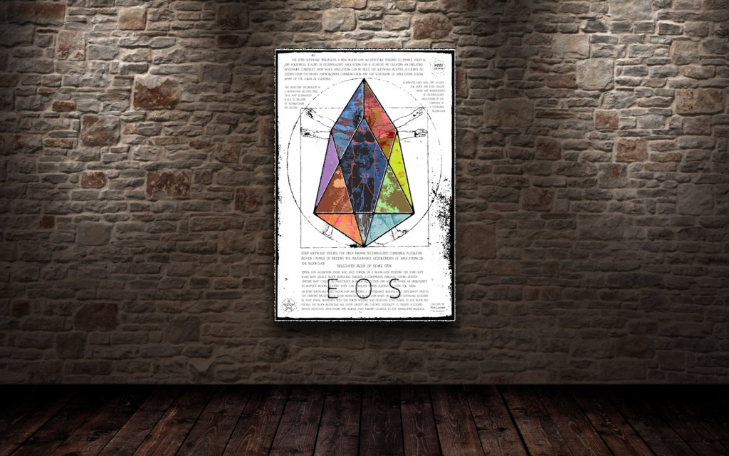 $EOS high-gloss panels from @LynxCollection came out amazing.   Limited to 10, never to be produced again   http:// Lynxartcollection.com  &nbsp;    Based on Da Vinci&#39;s virtruvian man, this piece speaks to intricate systems based on math &amp; the range of applications that will be built on EOS.<br>http://pic.twitter.com/7eSN8JwI1b