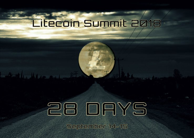 #28Days for the 2018 #Litecoin Summit! Exciting times ahead of us, as we come together to revolutionize the world. @SatoshiLite #LTCSF18<br>http://pic.twitter.com/nyM8xddZ1l