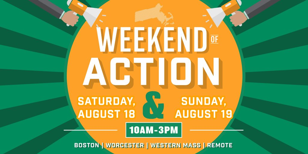 This weekend, take action with us in #Boston, #Worcester, #WesternMA or even from your couch—as we talk to voters statewide about voting #YesOn3! Sign up for a weekend of action shift here: https://t.co/kDtuH5EDpq #TransLawMA #MAPoli