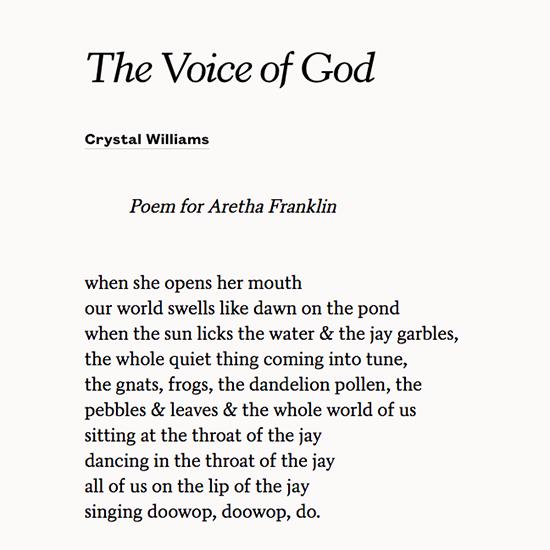 test Twitter Media - RT @POETSorg: A poem for Aretha Franklin. https://t.co/4ZzbdPOPY9 https://t.co/uerqBSr73C