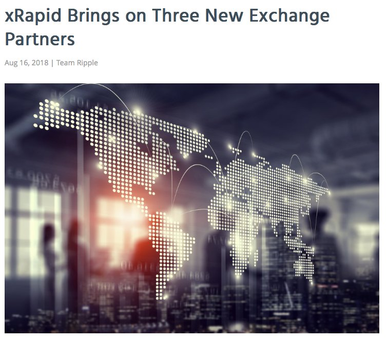 "**BREAKING**  Cory Johnson:  ""as we move the product [xRapid] from beta to production --later this year--, these exchange partners will allow us to provide financial institutions with the comfort and assurance that their payments will move seamlessly...""   https:// ripple.com/insights/xrapi d-brings-on-three-new-exchange-partners/ &nbsp; …  <br>http://pic.twitter.com/e27xTycECO"