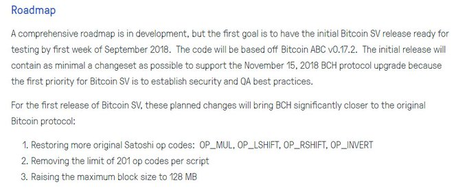 Looks like BCH roadmap remains unchanged for this yr despite firing their last dev and now hiring a new dev. Restoring old op codes that were disabled for security reasons & another meaningless BS increase. There is NO innovation, this can hardly even be considered development. Photo