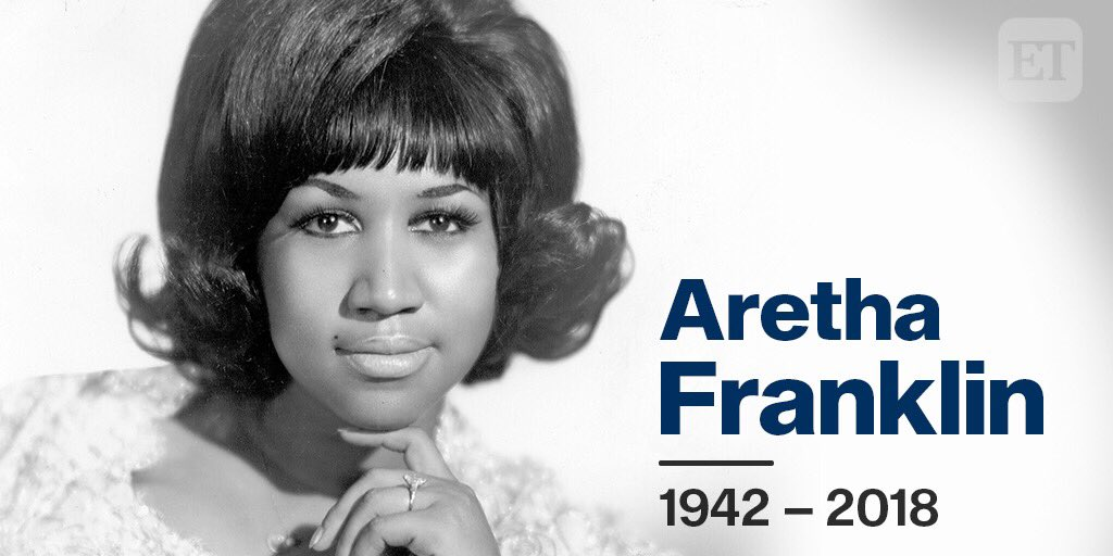 """Aretha Franklin has passed away at age 76. #RIP to the """"Queen of Soul."""" 💙"""