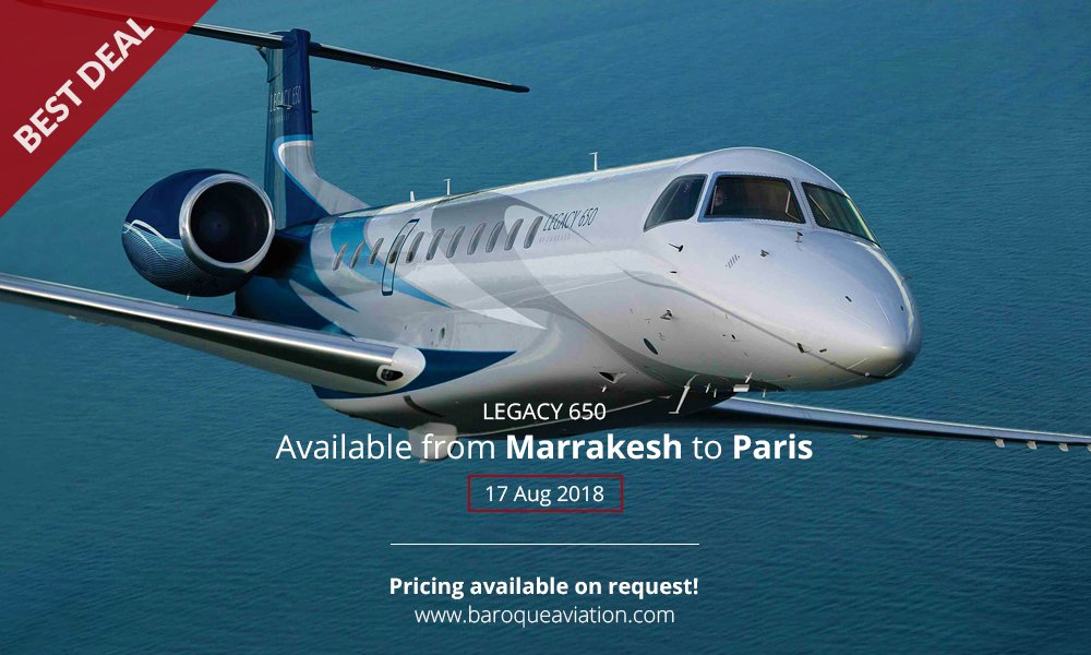 Another day brings another great offer. Empty leg from   #Marraesh, #Morocco to #Paris, #France on 17 August flying in a #Legacy650   Request a charter:  http:// ow.ly/riHf30csd9M  &nbsp;   #privatejet #bizjet #emptyleg<br>http://pic.twitter.com/9X9v2R3NSM