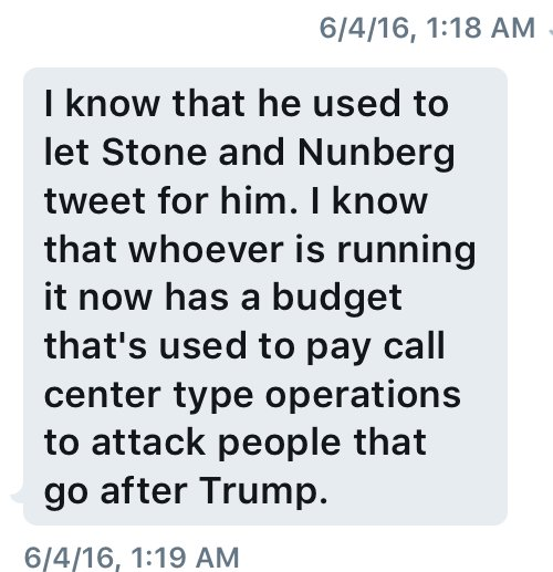 A DM I received (one of many) from someone who is now a Trump insider and big Trump cheerleader.  And yes, the FBI knows.  cc @NunbergSam @MichaelCohen212 @michaelrcaputo @RogerStoneJr @jaketapper @AriMelber @NicolleDWallace @ChrisCuomo @SchreckReports<br>http://pic.twitter.com/18XSMVOuf7