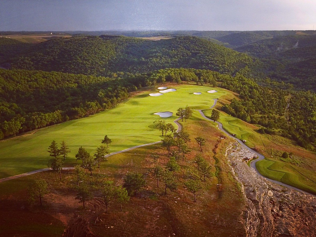 The Ozark Mountains serve as a beautiful backdrop for Hole #1 @GolfBigCedar's Payne's Valley, our first public golf course design in the U.S.