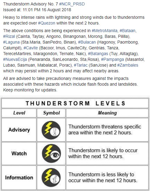 Thunderstorm Advisory No. 7 #NCR_PRSD Issued at: 11:01 PM 16 August 2018